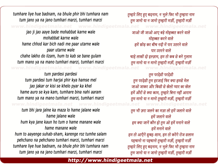 lyrics of song Tumhare Liye Hue Badnam, Na Bhule Fir Bhi Tumhara Nam