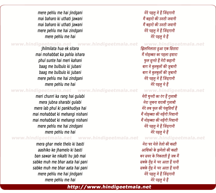 lyrics of song Mere Pehalu Me Hai Jindgani