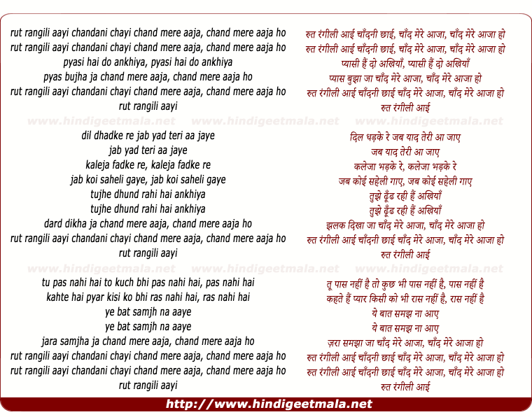 lyrics of song Rut Rangili Aayi Chandni Chayi