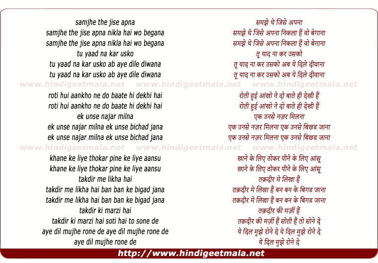 lyrics of song Samjha The Jise Apna Nikala Hai Wo Begana