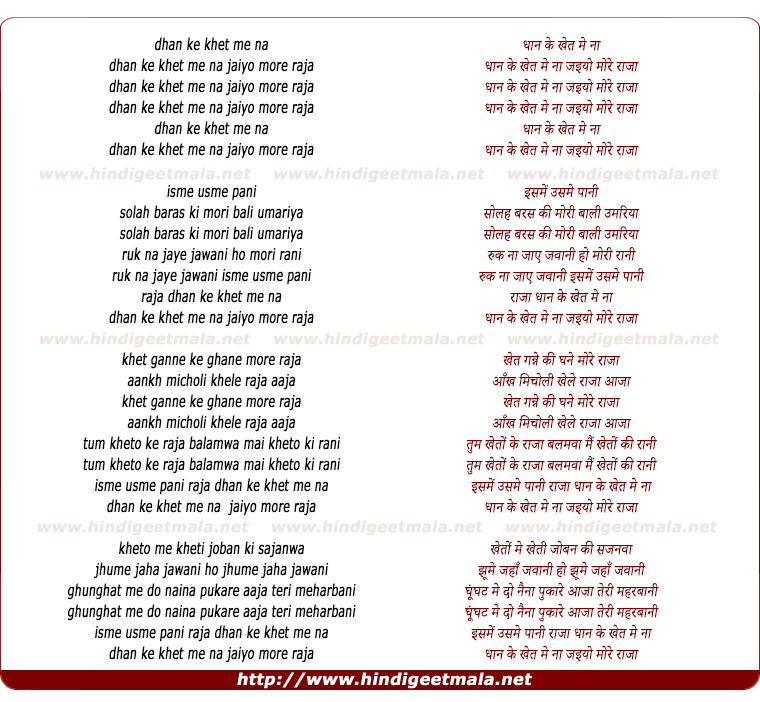 lyrics of song Dhan Ke Khet Me Na Jayyo More Raja