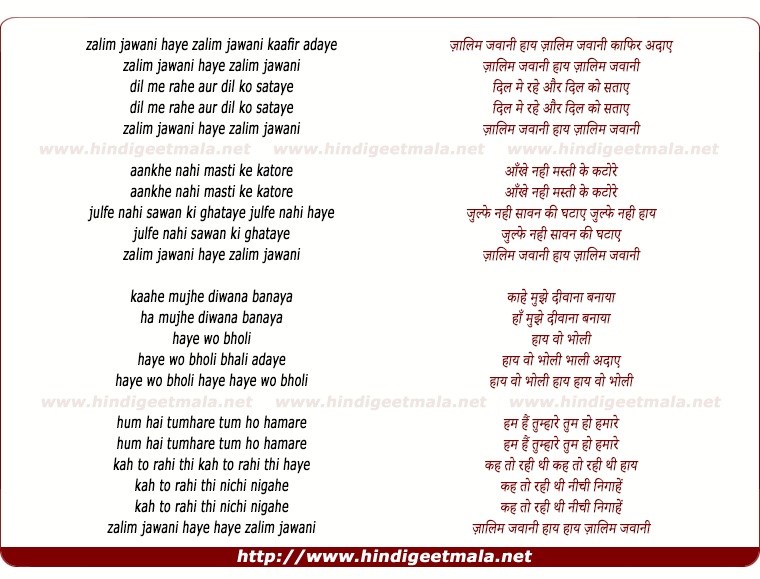 lyrics of song Zalim Jawani Kafir Adaye