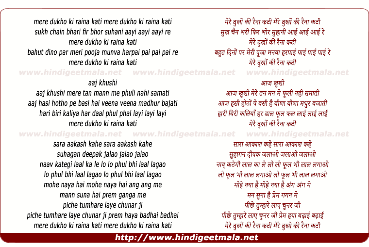lyrics of song Mere Dukh Ki Rain Kati
