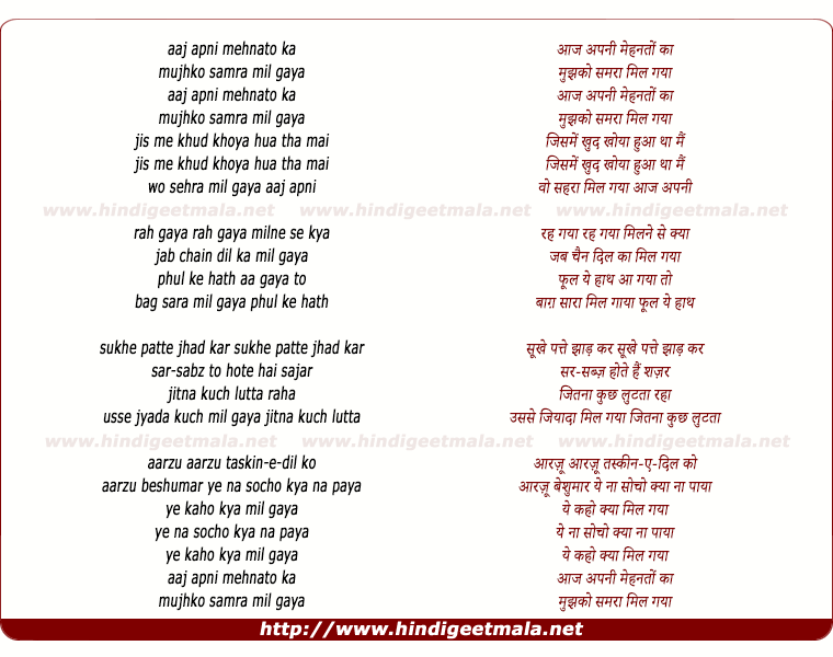 lyrics of song Aaj Apni Mehnato Ka Mujhko Samara Mil