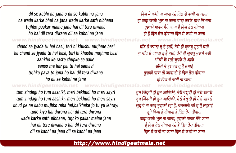 lyrics of song Dil Se Kabhi Na Jana