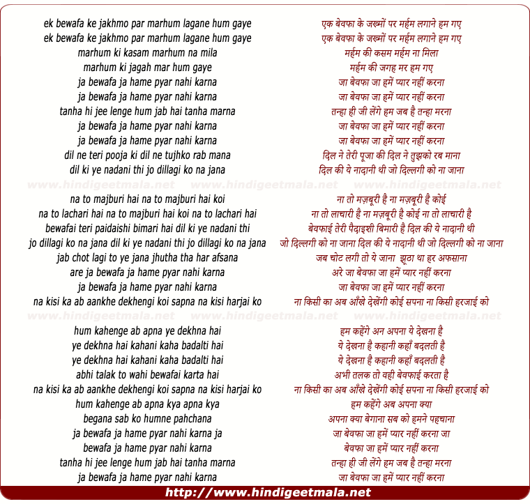 lyrics of song Ja Bewafa Ja Hame Pyar Nahi Karna