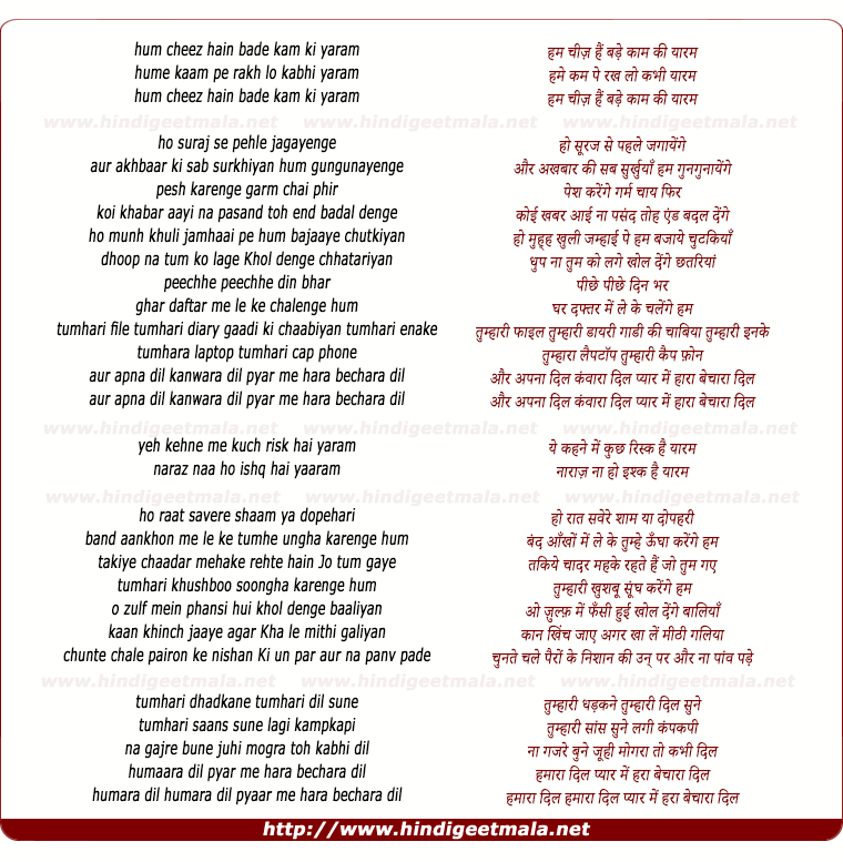 lyrics of song Ham Chiz Hai Bade Kaam Ki (Yaaram)
