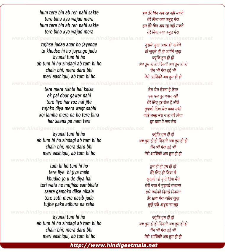 lyrics of song Ham Tere Bina Ab Reh Nahi Sakte (Tum Hi Ho)