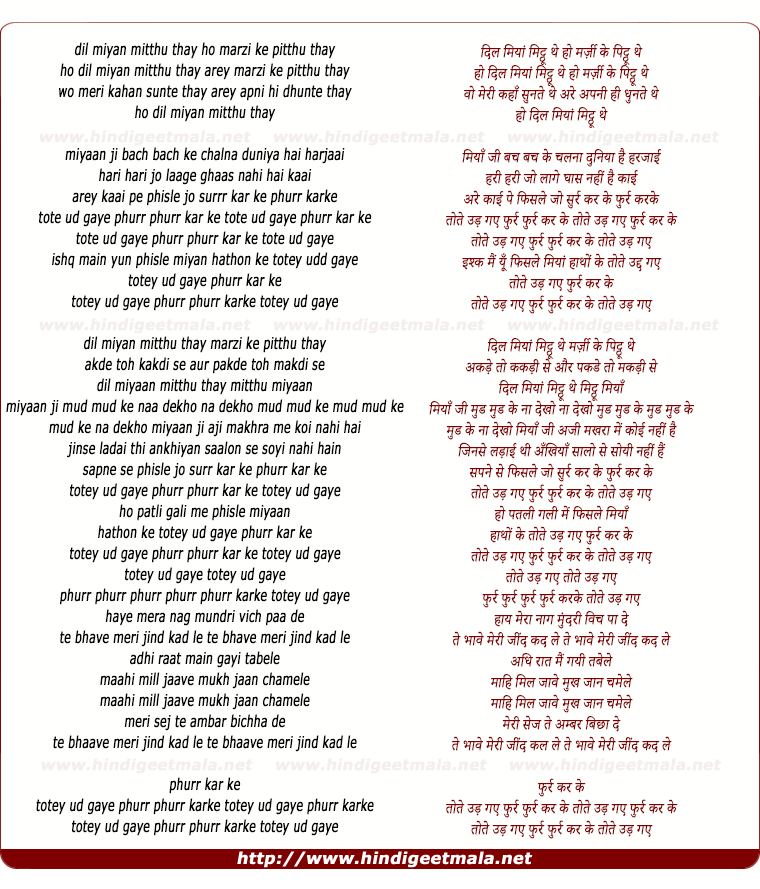 lyrics of song Tote Udd Gaye