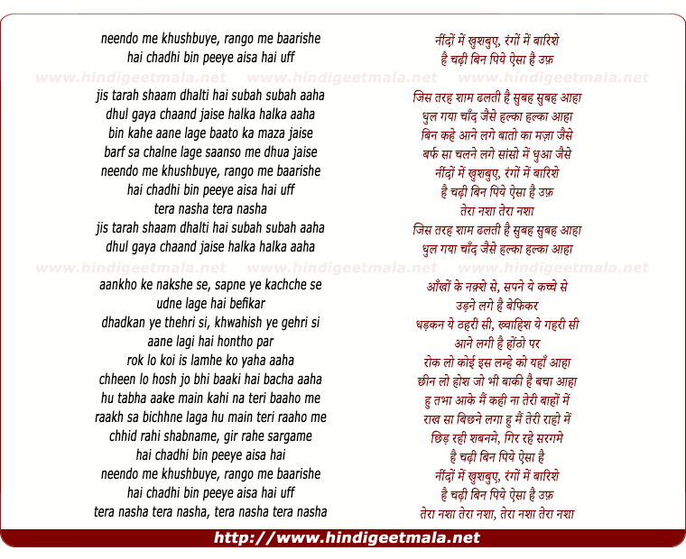 lyrics of song Tera Nasha (The Addictive Mix)