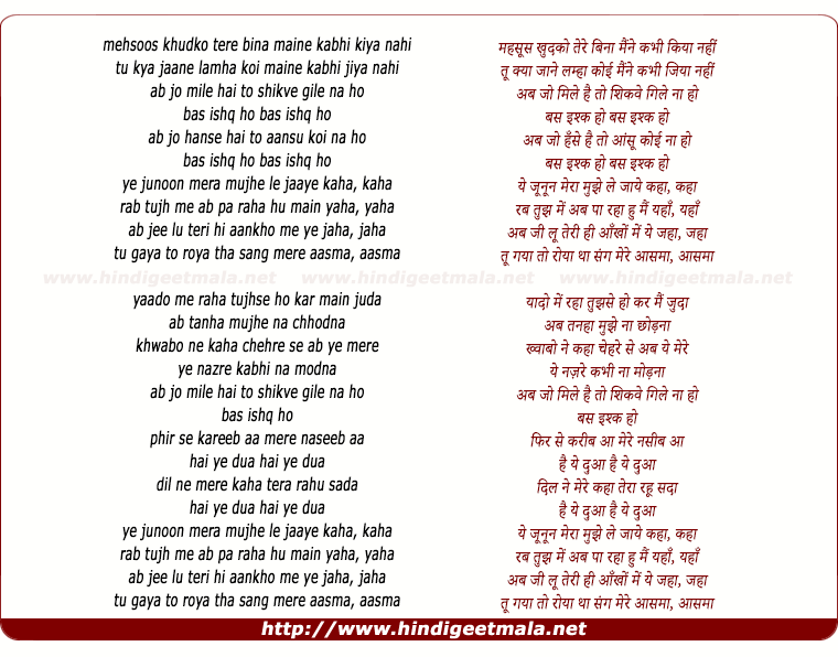lyrics of song Ye Junoon Mera