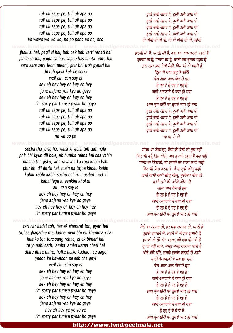 lyrics of song Tumse Pyar Ho Gaya Jane Anjane Ye Kya Ho Gaya