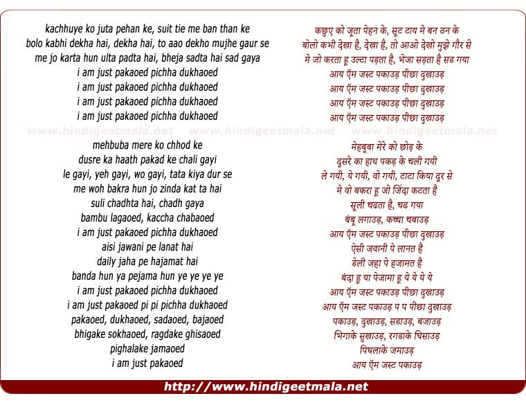 lyrics of song I Am Just Pakaau
