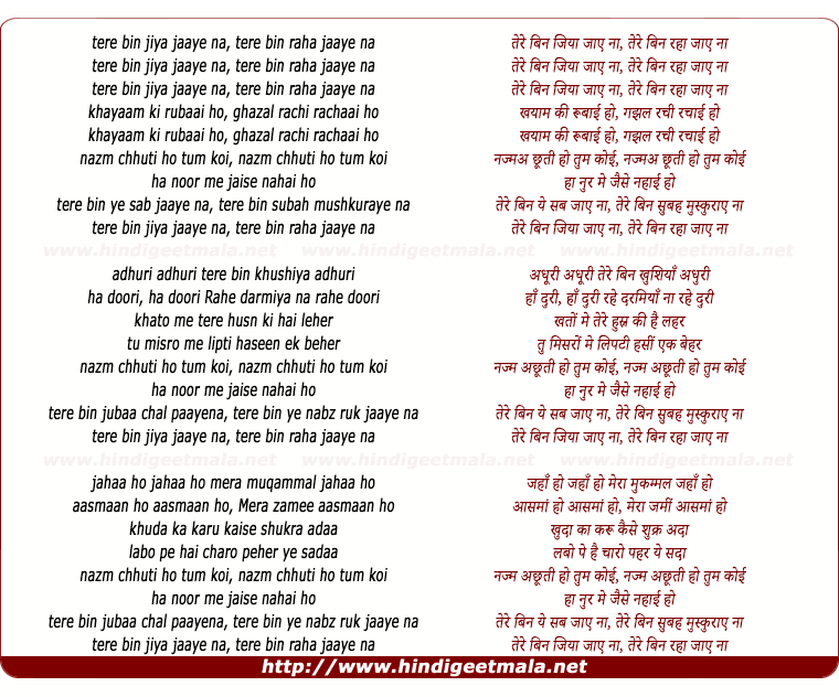 lyrics of song Tere Bin Jiya Jaye Naa