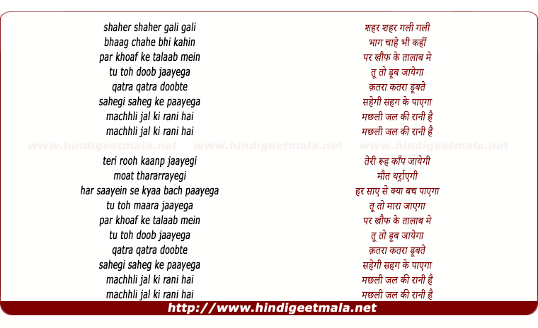 lyrics of song Machhli Jal Ki Rani Hai