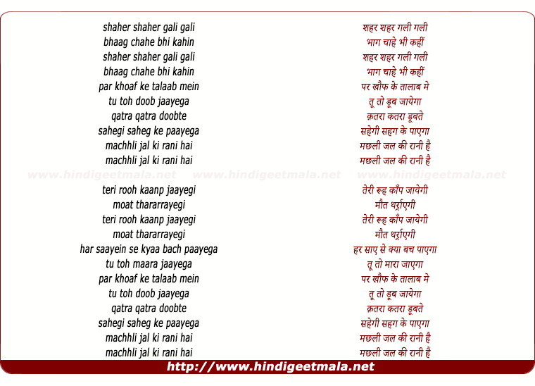 lyrics of song Machhli Jal Ki Rani Hai (Remix)