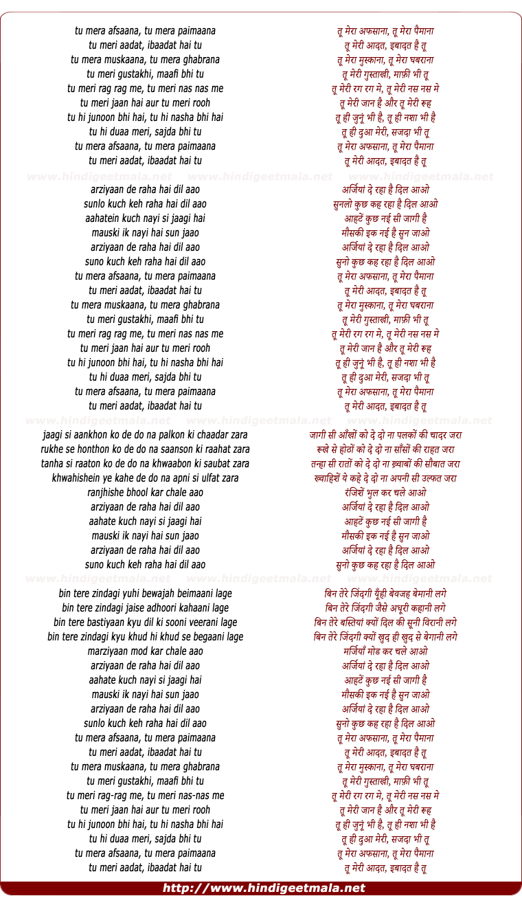 lyrics of song Tu Mera Afsana