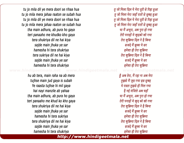 lyrics of song Tera Shukriya (Remix)