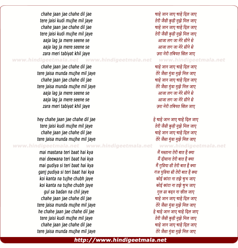 lyrics of song Chahe Jaan Jaye Chahe Dil Jaye