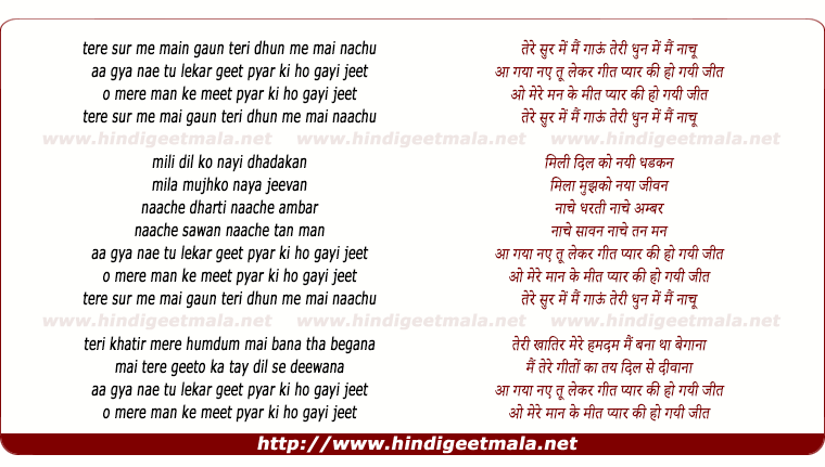 lyrics of song Tere Sur Mein Main Gau