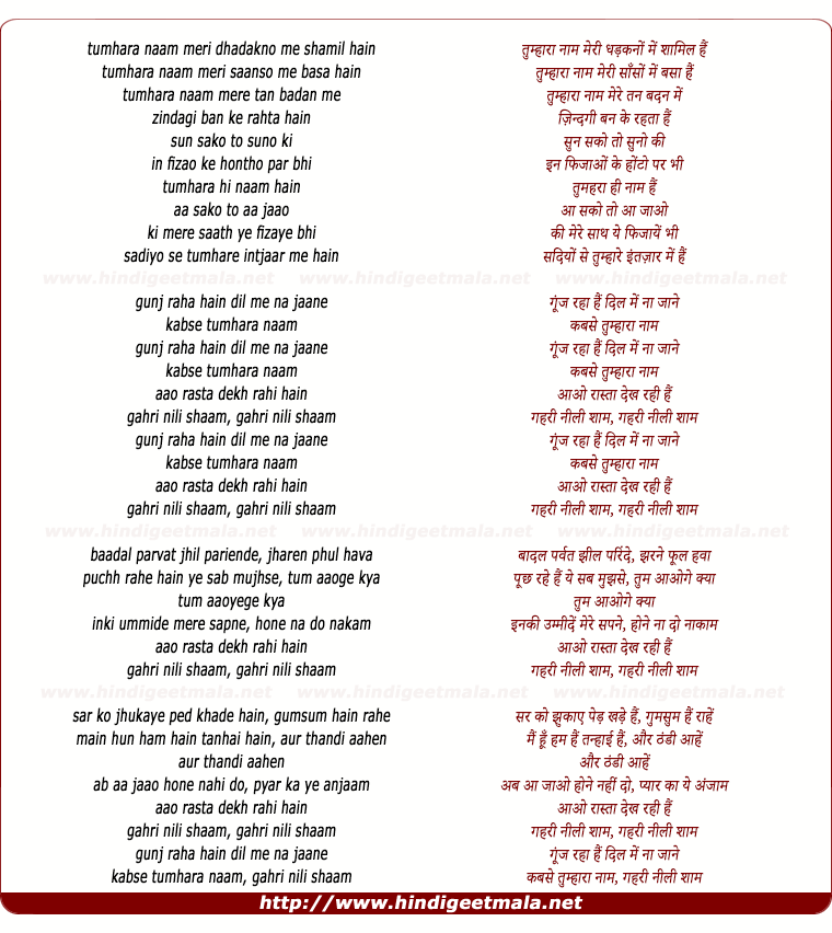 lyrics of song Gehri Neeli Shaam