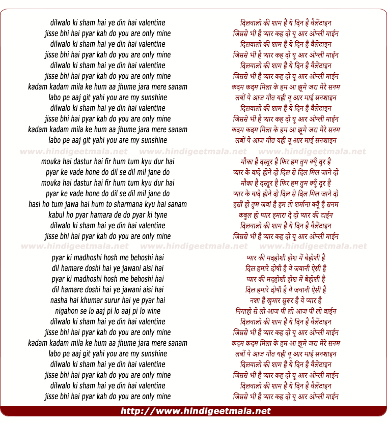 lyrics of song Dil Waalo Ki Shaam Hai