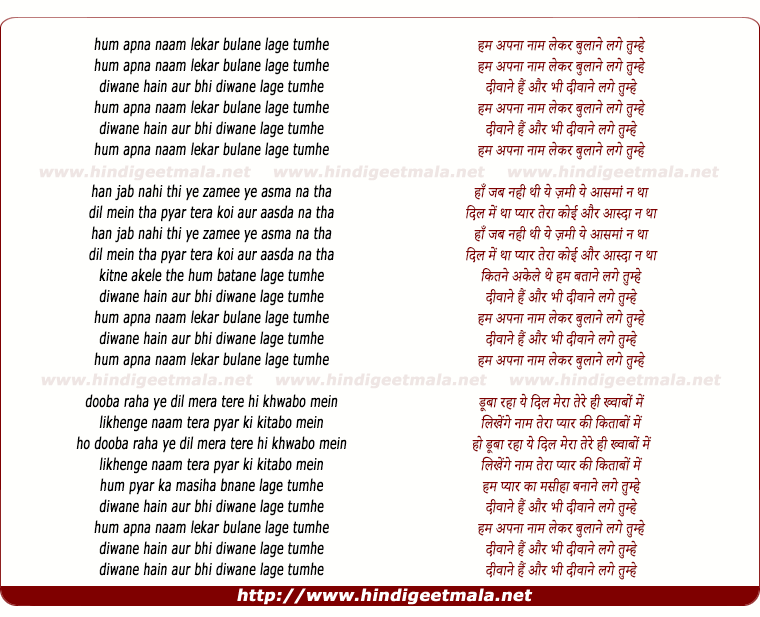 lyrics of song Hum Apna Naam Lekar
