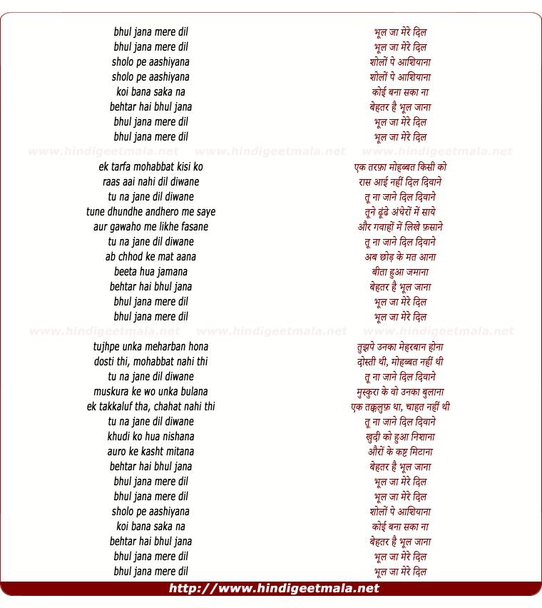 lyrics of song Bhool Jaa Mere Dil (Male)