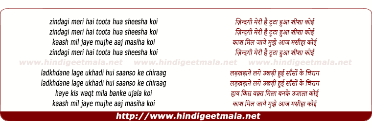 lyrics of song Zindagi Meri Hai Toota Hua Shisha Koi