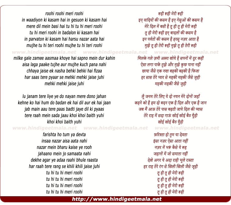 lyrics of song Tu Hi Tu Hi Meri Roohi