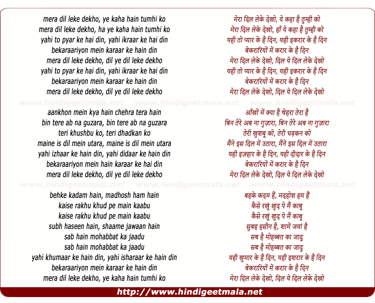 lyrics of song Mera Dil Leke Dekkho