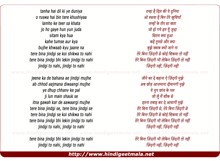 lyrics of song Tanha Hai Dil Ki Ye Duniya