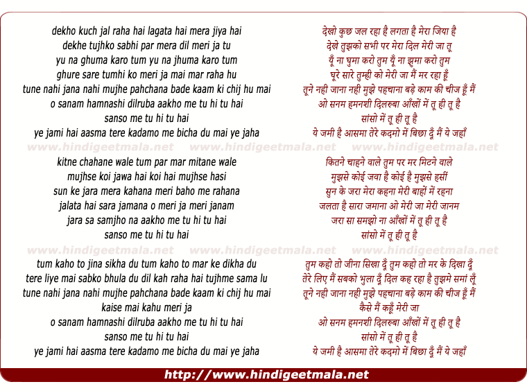 lyrics of song Tu Hi Tu