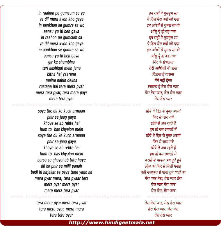 lyrics of song Tera Mera