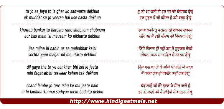 lyrics of song Tu Jo Aa Jaye