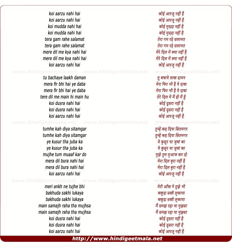 lyrics of song Koi Arzoo Nahi Hai