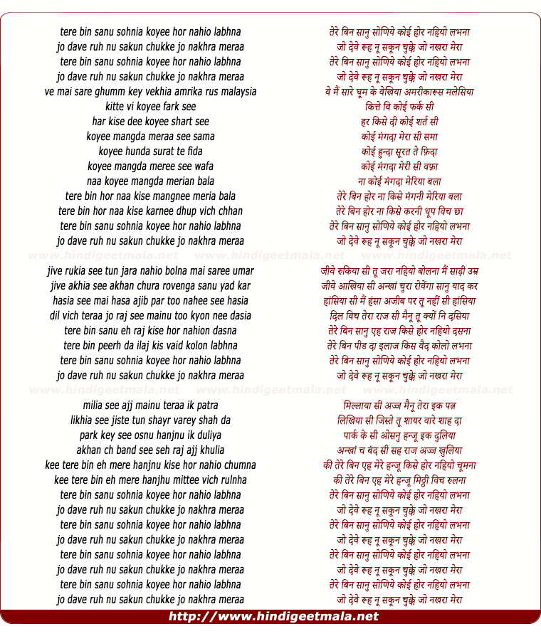 lyrics of song Tere Bin (Rabbi)