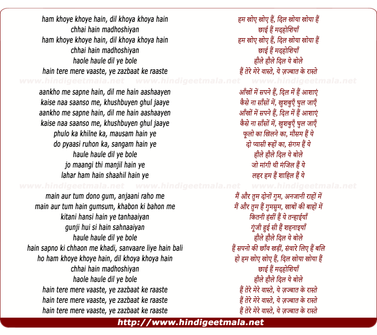 lyrics of song Hum Khoye Khoye Hai