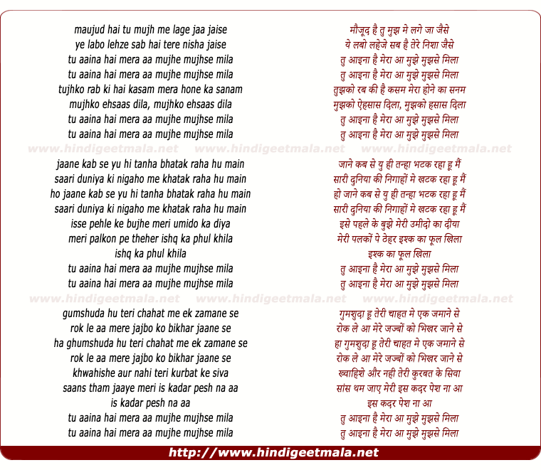 lyrics of song Tu Aaina Hai Mera