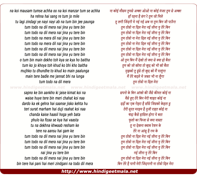 lyrics of song Tum Todo Na
