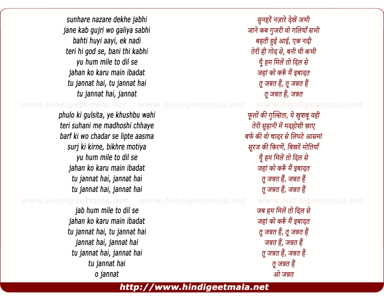 lyrics of song Tu Jannat Hain