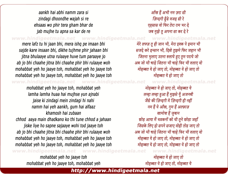 lyrics of song Mohabbat Yeh Ho Jaaye To (Reprise)