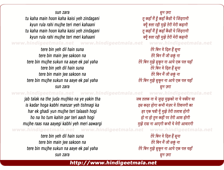 lyrics of song Sun Zara (Tere Bin)