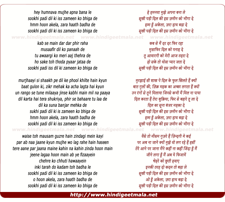 lyrics of song Humnava
