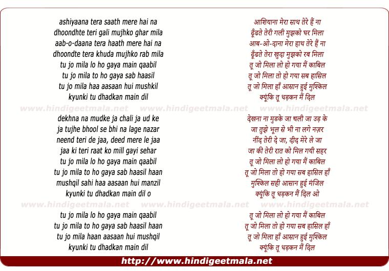 lyrics of song Tu Jo Mila
