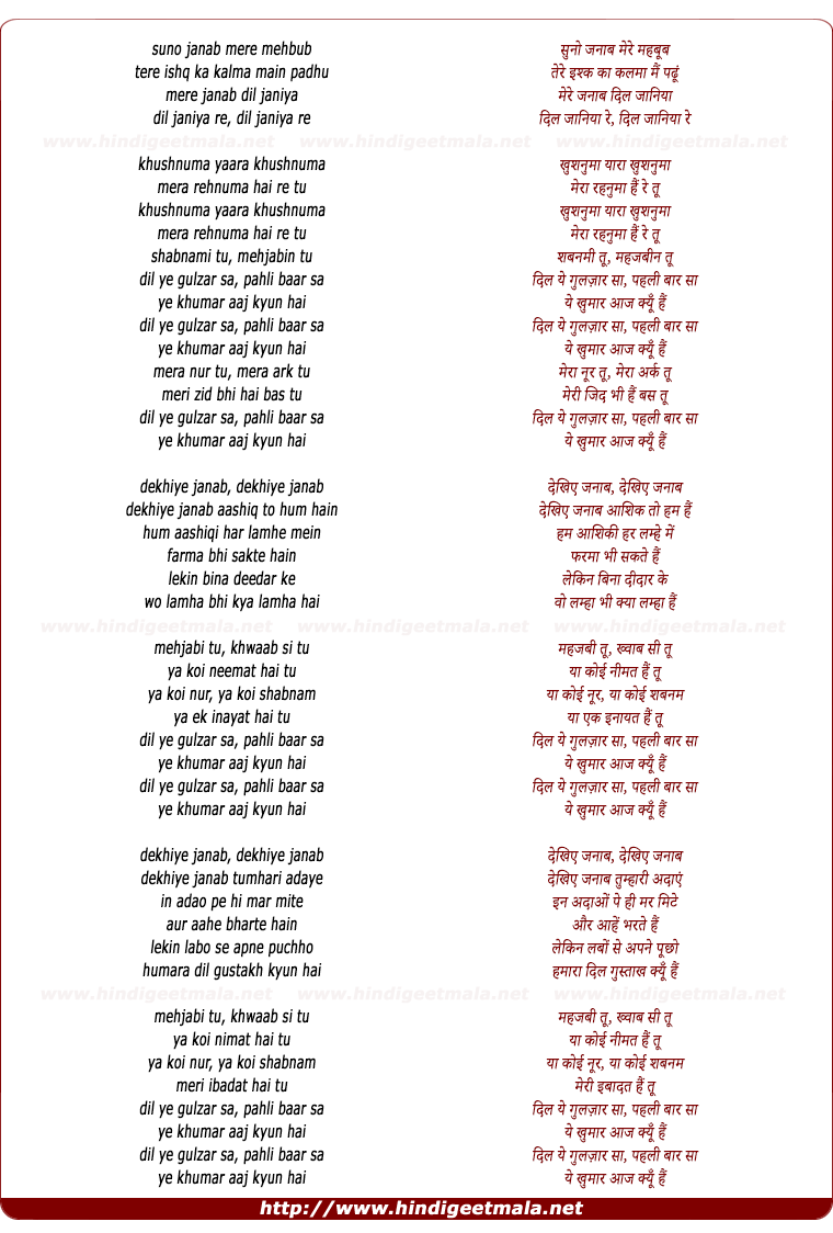 lyrics of song Janaab