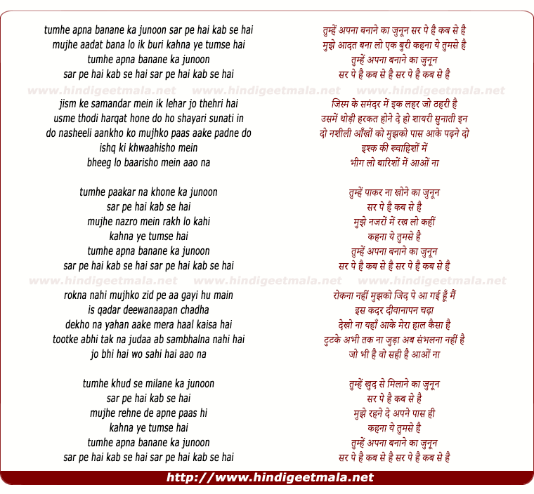 lyrics of song Tumhe Apna Banane Ka