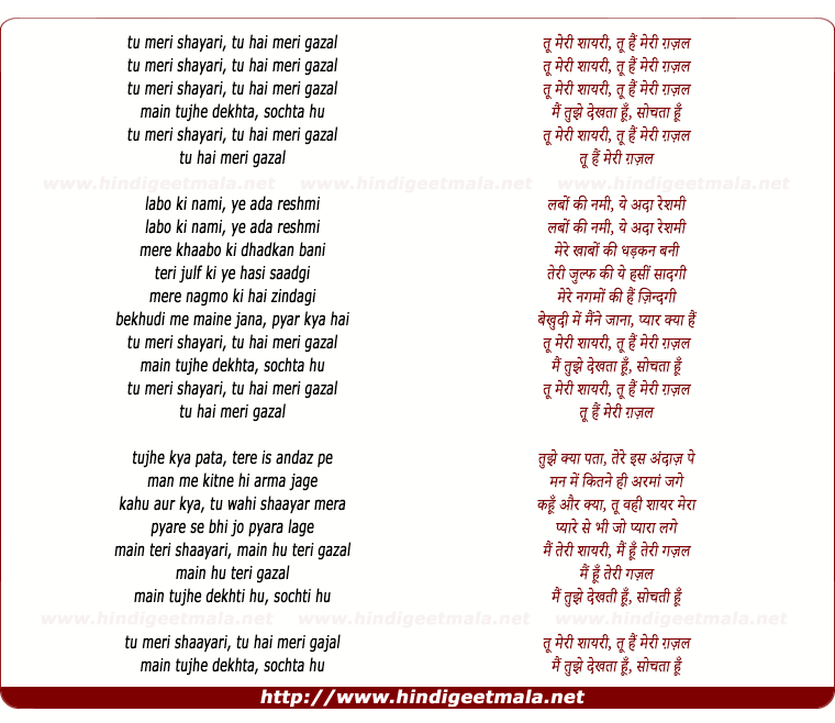 lyrics of song Tu Meri Shairi