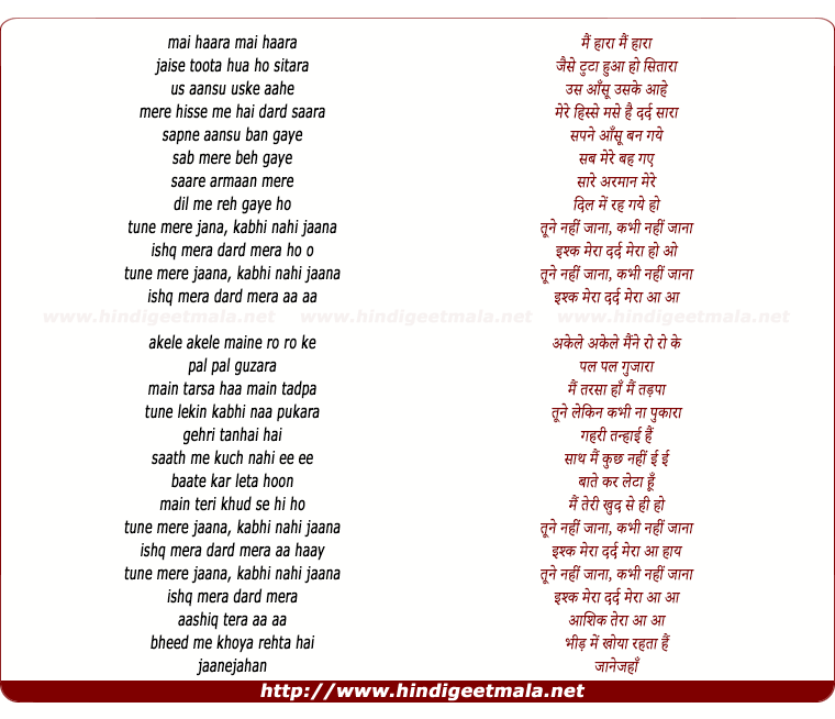 lyrics of song Tune Mere Janaa (Acoustic)