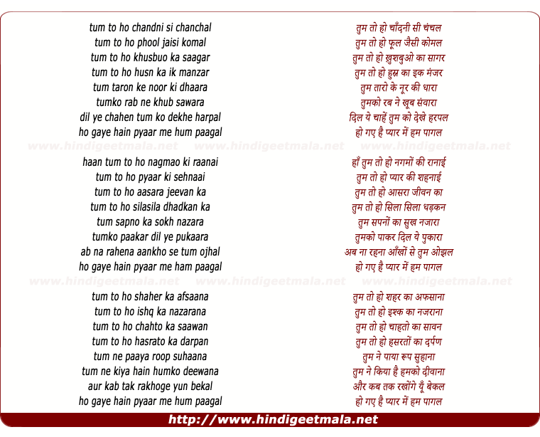 lyrics of song Tum To Ho Chandni Se Chanchal